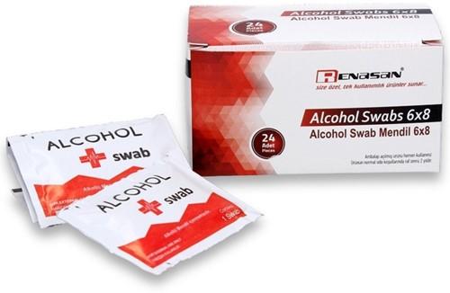 Alcohol doekjes 70% alcohol 10.5x20cm doos a 24 stuks.