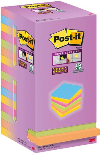 Memoblok 3M Post-it 654 Super Sticky 76x76mm color notes 16 bloks.