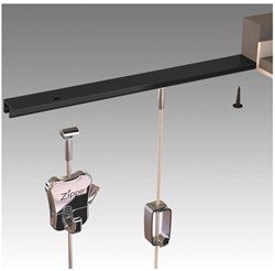 Plafondrail t.b.v. systeemplafond zwart set van 2 stuks.