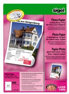 Fotopapier LASER Sigel glanzend 2 zijdig A4 135 grams 100 vel (SI-LP141).
