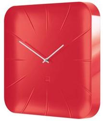 Wandklok Sigel Inu 35x35cm fresh rood kunststof 3D front. OP=OP