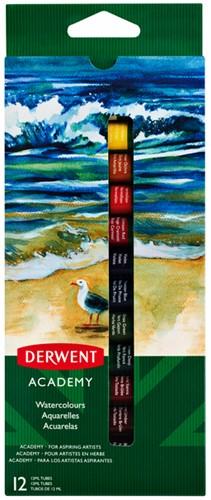 Aquarelverf Derwent Academy blister à 12 tubes à 12ml assorti.