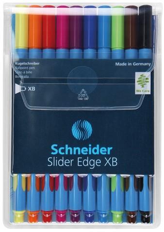 Balpen Schneider Slider Edge XB assorti kleuren set a 10 stuks.