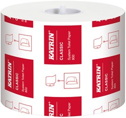 Toiletpapier Katrin Classic System 800 hoogwit 96mtr. 9,9x12,0 2-laags 800 vel 36 rollen.