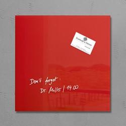 Glas-Magneetbord Sigel GL159 rood 300x300x15mm, incl. 1 magneet en bevestigingsmateriaal.