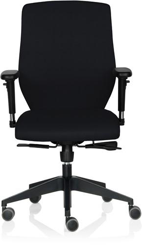Bureaustoel Rovo gestoffeerd zwart voetkruis kunststof zwart wielen zacht.