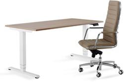 Zit / Sta tafel Huislijn elektrisch verstelbaar 64-130cm blad 160x80cm eiken robson frame wit.
