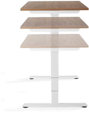 Zit / Sta tafel Huislijn elektrisch verstelbaar 64-130cm blad 160x80cm eiken robson frame wit.-3