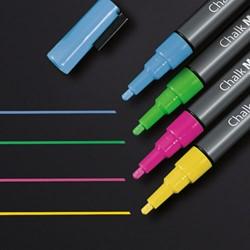 Krijtmarker Sigel 1-2mm afwasbaar 4-kleuren roze-groen-geel-blauw.