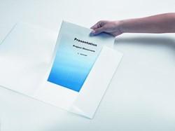 Offertemap Biella A4 wit karton met transparante insteek op het voorblad.