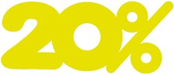 Etalagekarton fluor geel tekst 20% 21x52cm 380 grams pak van 10 stuks.