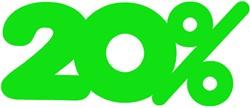 Etalagekarton fluor groen tekst 20% 21x52cm 380 grams pak van 10 stuks.