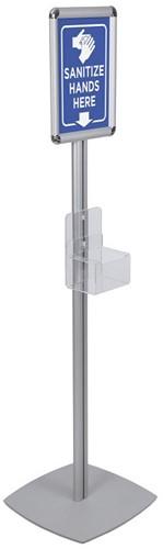 Handhygiëne infostandaard OPUS 2 140cm hoog is voorzien van een houder tbv een zeeppompfles en A4 kliklijst. Excl. zeeppomp.