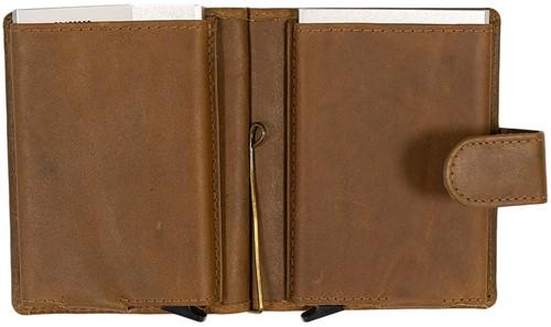 Pasjeshouder Figuretta etui - lederen omslag dubbel in de kleur Khaki cap. 2x6 kaarten.-2