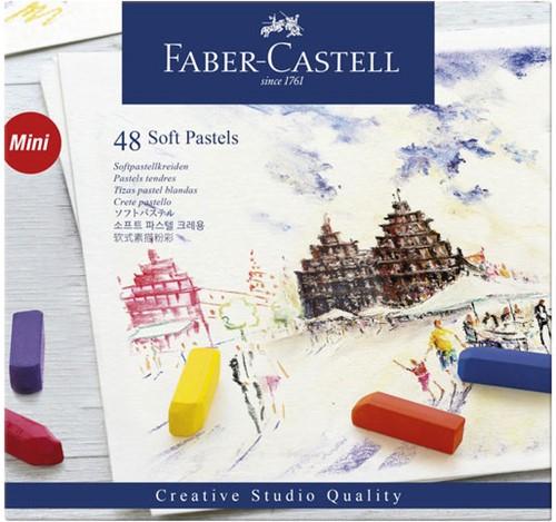 Pastelkrijt Faber-Castell halve lengte doos 48 stuks.