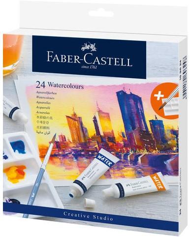 Waterverf Faber-Castell 24 kleuren in tubes + mengpalet.