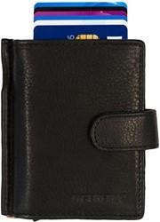 Pasjeshouder Figuretta etui - lederen omslag dubbel  in de kleur zwart cap.  2x6 kaarten.