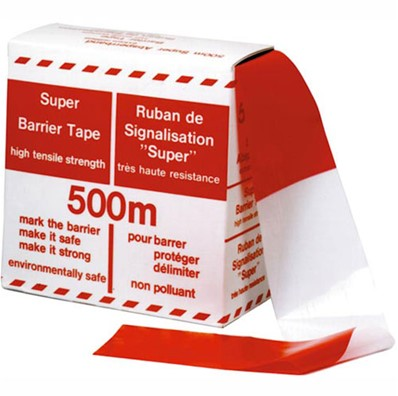 Afzetband 75mm x 500m rood/wit.