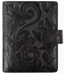 Agenda omslag Succes Junior model Rosa - zacht kalfsleer met een rozenprint in de kleur zwart - mechaniek: 15mm PJ252RS02.