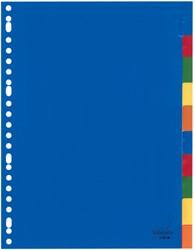 Tabbladen Kangaro A4 2/4/23 gaats 10-delig kunststof assorti kleuren met opgelaste tabs + stroken A410FM.