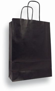Draagtas 230x100x295mm kraft papier zwart 90 grams. Afname per 10 stuks.