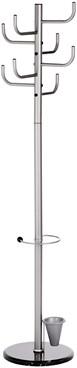 Staande kapstok Alco metaal met 8 haken zilver inclusief paraplustandaard 172cm zonder knoppen.