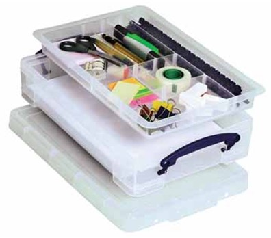 Opbergbox Really Useful inhoud 4 liter met office tray 395x88x255mm (bxhxd).