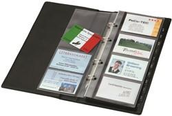 Visitekaartringband Sigel VZ-300 265x147x44mm 4-ringsmechaniek kunststof zwart capaciteit 120 kaarten 90x58mm.