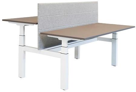 Elektrisch zit sta bureau DUO Huislijn project 160x80/62-130cm blad eiken robson en frame wit + up down button.