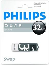 USB Stick Philips 32GB 2.0 'Vivid' met draaibaar beschermkapje.