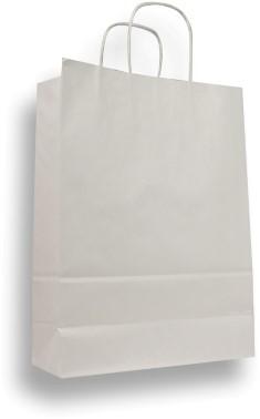 Draagtas 180x80x240mm kraft papier wit 100 grams. Afname per 10 stuks.