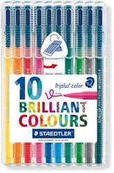 Viltstift Staedtler Triplus Color 323 assorti 1mm 10 stuks.