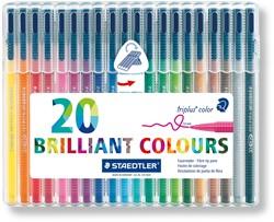 Viltstift Staedtler Triplus Color 323 assorti 1mm 20 stuks.