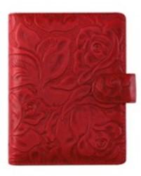 Agenda omslag Succes Senior model Rosa - zacht kalfsleer met een rozenprint in de kleur rood - mechaniek: 20mm PS252RS12.