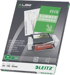 Lamineerhoes Leitz A4 2x80 micron glanzend ZELFKLEVEND en verplaatsbaar 100 stuks.