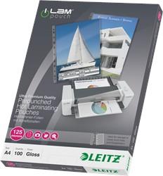 Lamineerhoes Leitz A4 2x125 micron glanzend met perforatie 100 stuks.