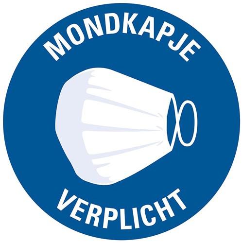 Pictogram sticker Pickup rond 15cm 'mondkapje verplicht'.