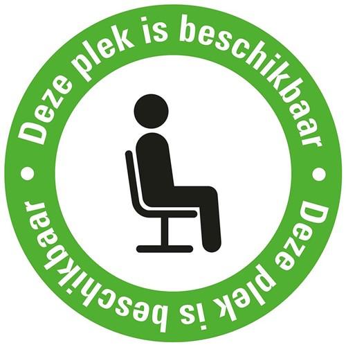 Pictogram sticker Pickup rond 15cm 'Deze plek is beschikbaar'.