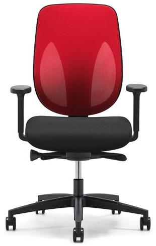 Bureaustoel Giroflex 353-8029 rug G492 rood netbespanning zitting zwart voetkruis zwart kunststof wielen zacht.