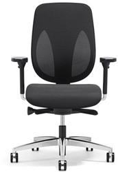 Bureaustoel Giroflex 353-8029 NPR G490 rug zwart netbespanning voetkruis gepolijst aluminium.