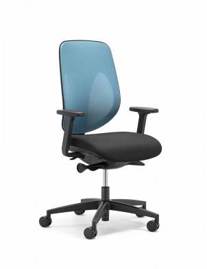 Bureaustoel Blauw Zwart.Bureaustoel Giroflex 353 8029 Rug G495 Blauw Netbespanning Zitting Zwart Voetkruis Zwart Kunststof Wielen Zacht