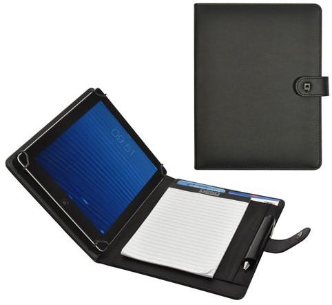 Tablethoes + schrijfblok A5 Desq kunstleer zwart met penlus en diverse insteekvakken met magneetsluiting.
