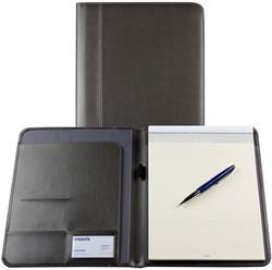 Schrijfmap Brepols Palermo A4 24,2x33cm inclusief schrijfblok - omslag lederlook grijs.