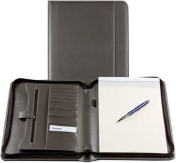 Schrijfmap Brepols Palermo A4 27x33cm met ritssluiting en schrijfblok - omslag lederlook grijs.