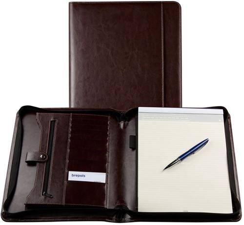 Schrijfmap Brepols Palermo A4 27x33cm met ritssluiting en schrijfblok - omslag lederlook donkerbruin.