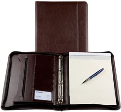 Schrijfmap Brepols Palermo A4 25,5x34,7cm met ritssluiting, schrijfblok en 4-rings 20mm mechaniek - omslag lederlook donkerbruin.