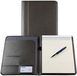 Schrijfmap Brepols Palermo A5 19,5x24,3cm inclusief schrijfblok - omslag lederlook grijs.