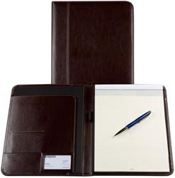 Schrijfmap Brepols Palermo A5 19,5x24,3cm inclusief schrijfblok - omslag lederlook donkerbruin.
