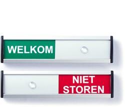 Schuifbordje 125x30mm rood/groen met tekst welkom - niet storen.