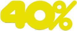 Etalagekarton fluor geel tekst 40% 21x52cm 380 grams pak van 10 stuks.